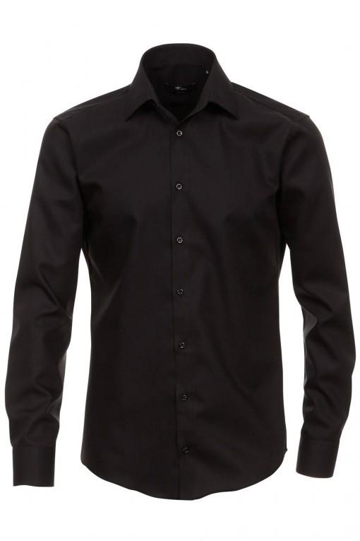 Venti slim fit overhemd zwart mouwlengte 7