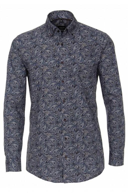 Venti Modern Fit Overhemd - Donkerblauw Paisley