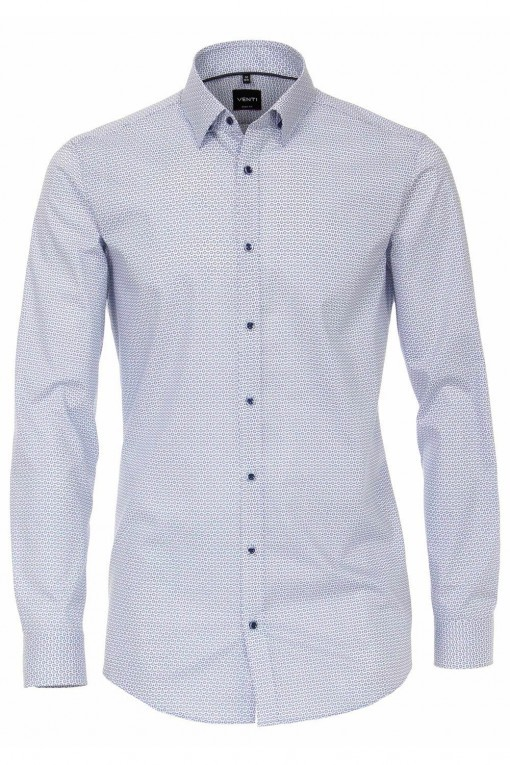 Venti Body Fit Overhemd - Wit/Lichtblauw
