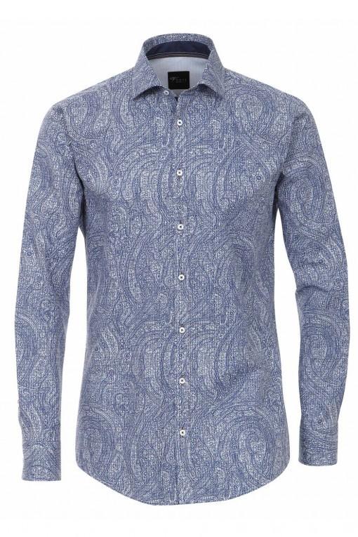 Venti slim fit overhemd blauw print