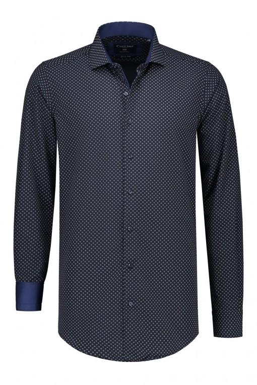 Corrino overhemd - Donkerblauw print