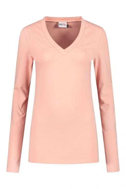 Highleytall - V-hals shirt lange mouw oudroze
