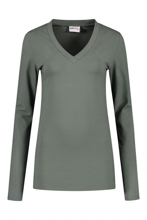 Highleytall - V-hals shirt lange mouw Khaki
