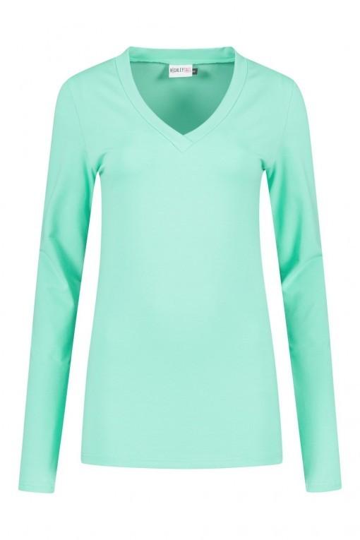 Highleytall - V-hals shirt lange mouw mintgroen
