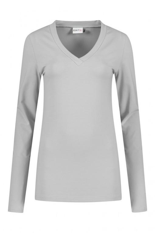 Highleytall - V-hals shirt lange mouw grijs