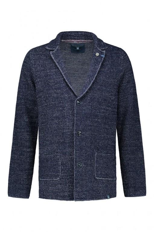 Colours & Sons gebreid vest blauw gemeleerd