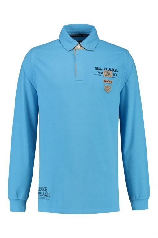 Kitaro Polo-shirt lange mouw - Pacific Blue