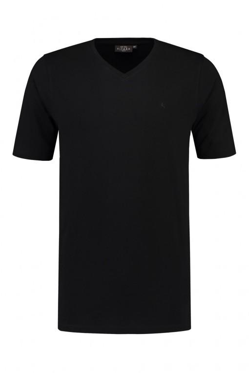 Kitaro T-shirt met v-hals - Zwart
