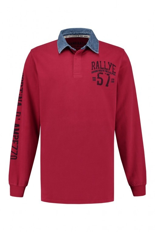 Kitaro Polo-shirt lange mouw - Garnet Red