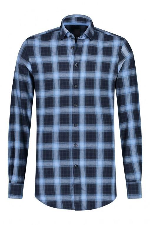 Kitaro Overhemd - Donkerblauw geruit