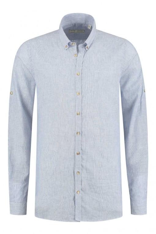 Blue Crane Slim Fit Overhemd - Linnen Blauw gestreept