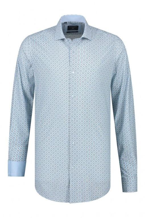 Corrino overhemd - Patroon lichtblauw
