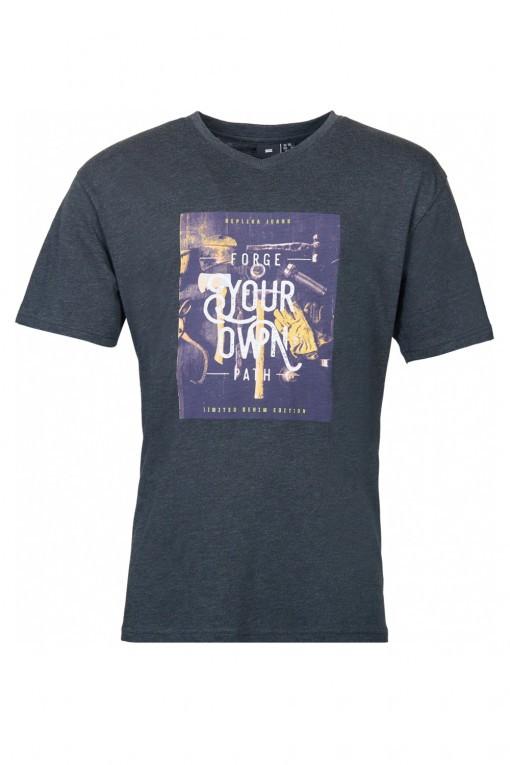 Replika Jeans v-hals T-Shirt - Forge Dark Grey
