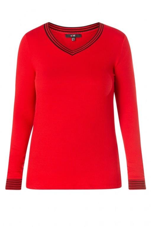 Yest Shirt - V-Hals Rood