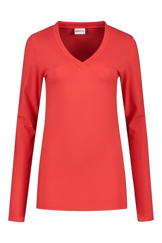 b1e0ff869b1 Highleytall - V-hals shirt lange mouw rood