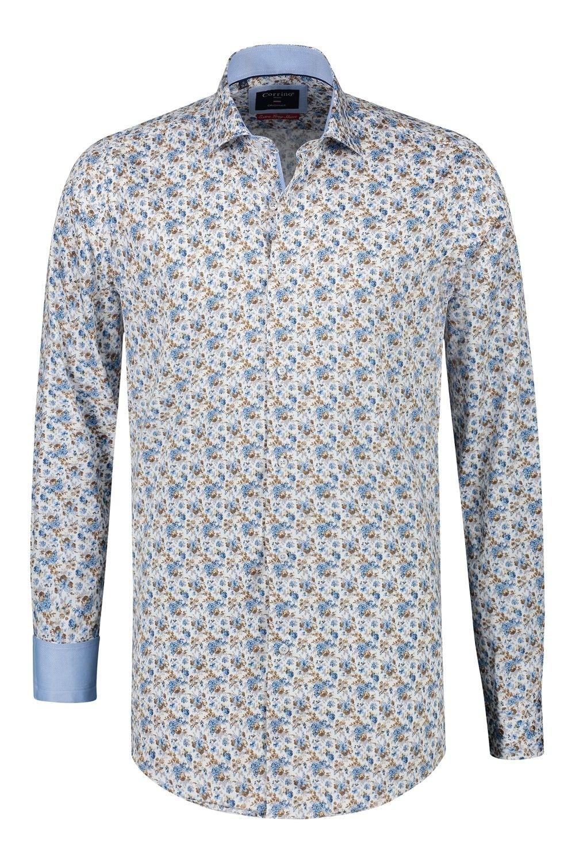 Bruin Overhemd.Corrino Overhemd Blauw Bruin Patroon Extra Lange Mouw Highleytall
