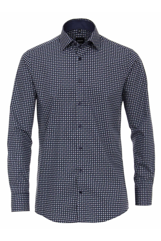 Donkerblauw Overhemd.Venti Overhemd Donkerblauw Bolletjes Extra Lang Highleytall