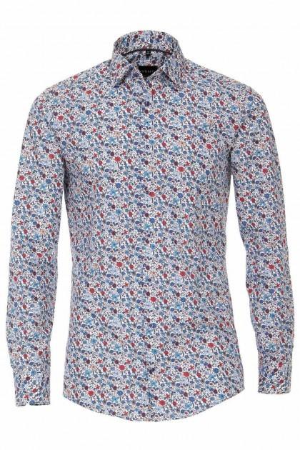Venti Modern Fit Overhemd - Blauw/rood Gebloemd