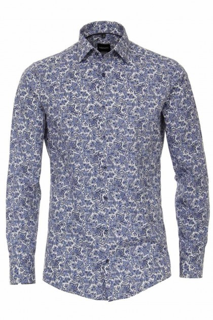 Venti Modern Fit Overhemd - Paisley Blauw