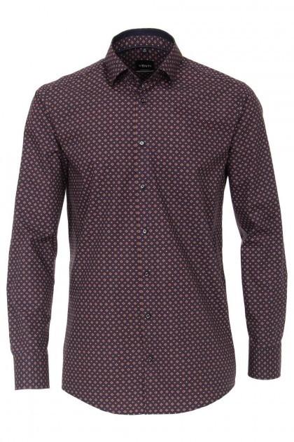 Venti Modern Fit Overhemd - Donkerrood/multi