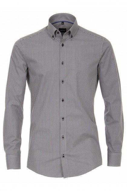 Venti Modern Fit Overhemd - Zwart/wit