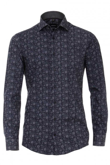 Venti Modern Fit Overhemd - Donkerblauw/wit print