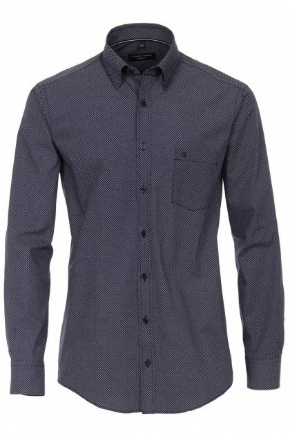 Casa Moda Casual Fit overhemd - Donkerblauw/print