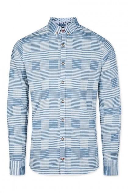 Colours & Sons - Overhemd blauw gestreept