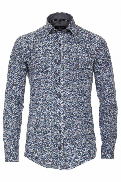 Casa Moda Casual Fit overhemd - Blauw/bloemen