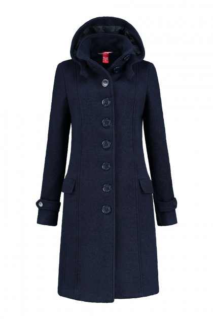 Only M - Winterjas Wol Donkerblauw