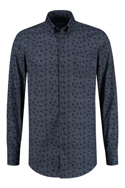 Ledûb Modern Fit Overhemd - Navy Paisley