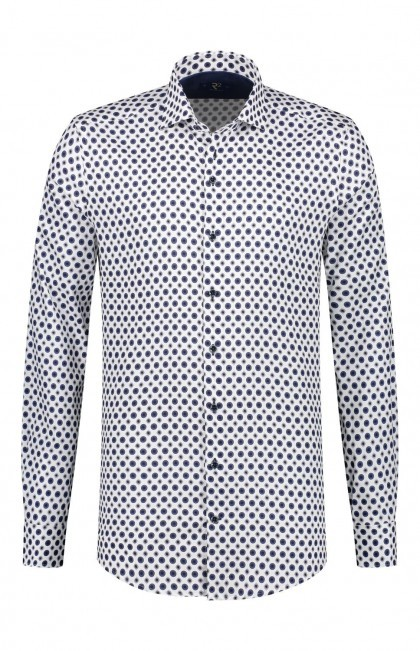 R2 Overhemd - Wit/Donkerblauw