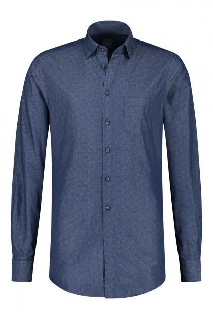 Kitaro Overhemd - Donkerblauw Gebloemd