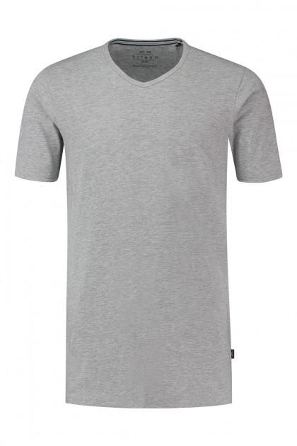 Kitaro T-Shirt - Basic V-hals grijs gemeleerd