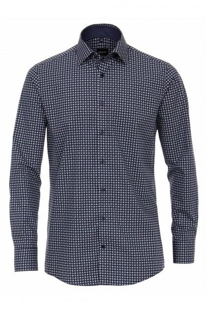Venti Modern Fit Overhemd - Donkerblauw bolletjes