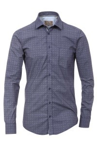 Venti slim fit overhemd donkerblauw print