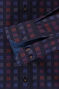 Venti slim fit overhemd donkerblauw geblokt
