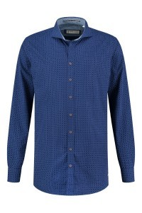 Blue Crane Tailored Fit Overhemd - Donkerblauw/patroon