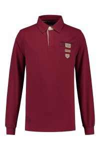 Kitaro Polo-shirt lange mouw - Bordeauxrood