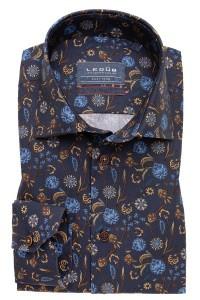 Ledûb Modern Fit Overhemd - Donkerblauw Print