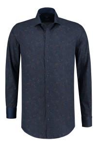 Corrino overhemd - Donkerblauw patroon