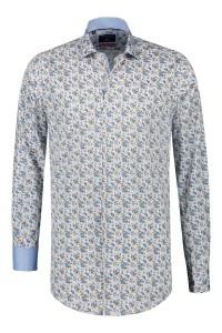 Corrino overhemd - Blauw/bruin patroon