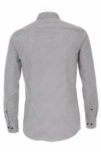 Venti Modern Fit Overhemd - Patroon Wit/Grijs