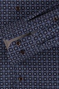 Venti Modern Fit Overhemd - Donkerblauw/patroon