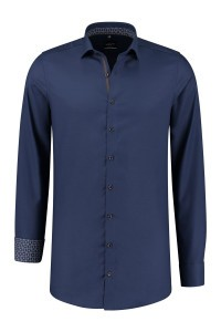 Venti Modern Fit Overhemd - Donkerblauw