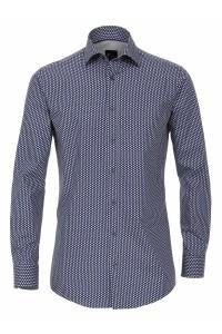 Venti Slim Overhemd - Donkerblauw print