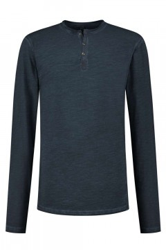 Replika Jeans - Granddad-shirt Navy Melange