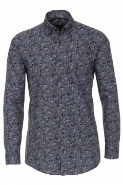 Venti Modern Fit Overhemd - Donkerblauw Paisley