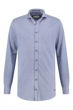 Blue Crane Slim Fit Overhemd - Blauw gemeleerd