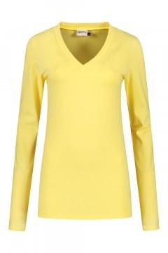 Highleytall - V-hals shirt lange mouw zachtgeel